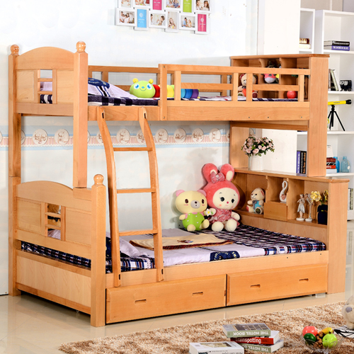 Packed beech bunk bed, all solid Muzi mother bed, princess bed, high and low bed, bed, upper and lower bunk, mother and child bed special price