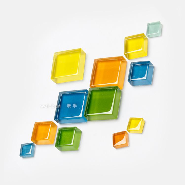 [太小]小號一套4個/10mm小方形水晶玻璃冰箱貼 個性磁貼創意強力磁鐵磁性貼 兒童早教吸鐵石