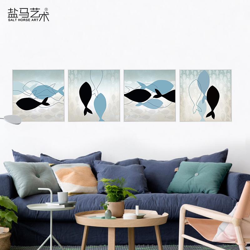 畫面一經典黑框單幅價格40*40餐廳裝飾畫魚客廳掛畫新中式沙發背景墻畫現代簡約臥室三聯抽象畫