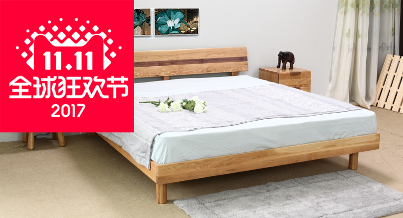 Custom Japanese style all solid wood bed, 1.81.5 meters oak flat double bed, simple modern bedroom environmental protection bed