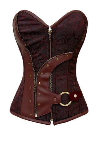 Любовь коричневый Brocade Steampunk корсет лиф-корсет жилет 5313