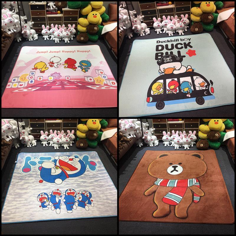 Cartoon crystal cashmere pad children crawling pad folding mat table bedroom carpet thickened tatami mats