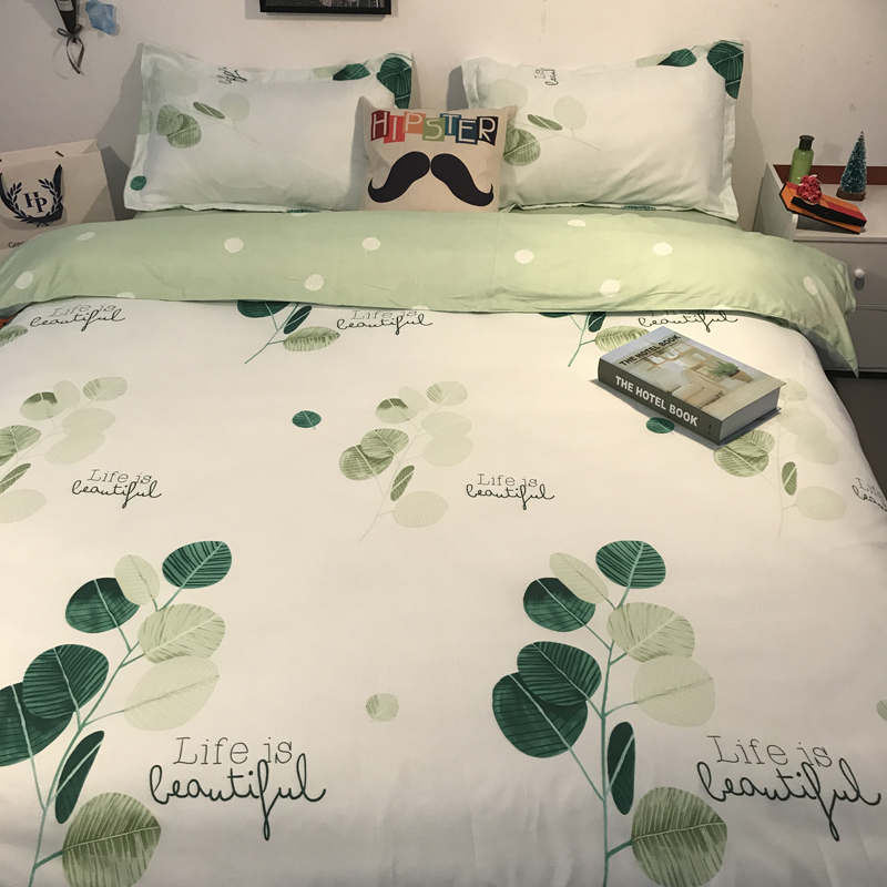 In the summer of four piece silk silk bedding set of three cool color silk bedding Tencel
