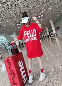 欧洲站时尚假两件套字母长款T恤连衣裙撞色圆领休闲嘻哈中长款T恤