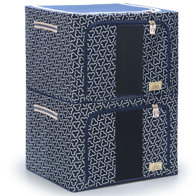 考拉藏青牛津布收纳箱衣物收纳盒 空间优品66L2只装其他收纳盒