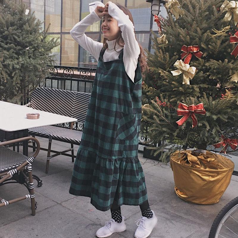 秋装连衣裙2017新款韩版复古学院风宽松显瘦大口袋格子背带裙学生