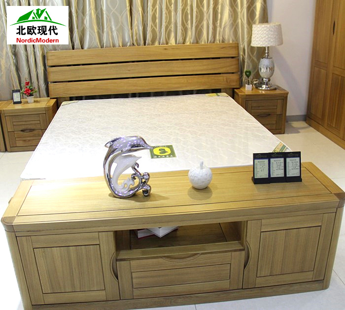 The high-end elm wood bed e Nordic minimalist modern furniture three bars double 1.8 meters wedding bed bag mail