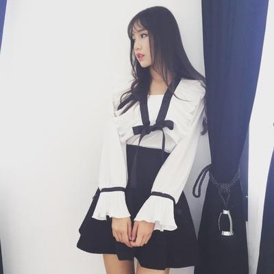 天天特价韩版女装风琴百褶喇叭袖荷叶边雪纺衬衫蝴蝶结系带衬衣女