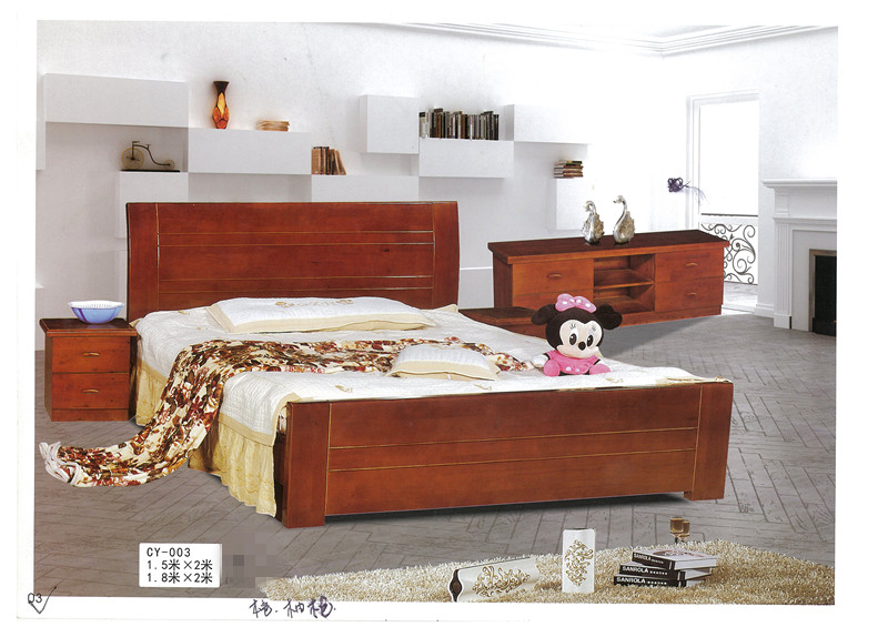 [] Chengdu factory direct wood bed double bed hydraulic high box cypress wood bed