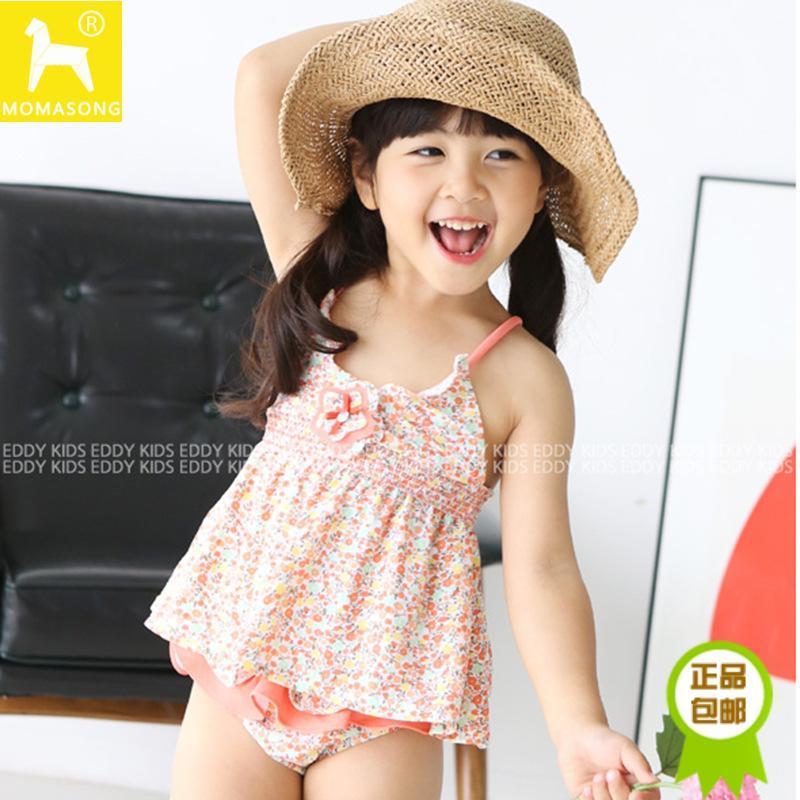 韩国新款女童游泳衣分体小孩婴幼儿童泳衣连体碎花宝宝比基尼泳装