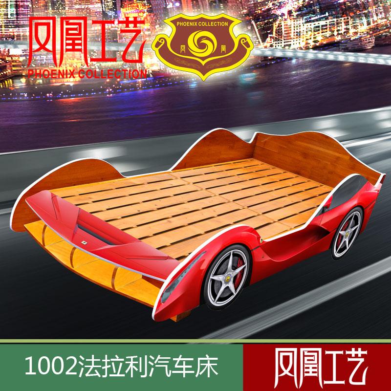 деревянные перила кровать детей автомобилей с откидными гонщик Ferrari творческих мебель мальчик постели девушка односпальная кровать
