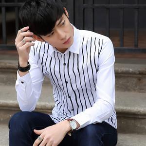 春装潮男士长袖衬衫韩版青年修身纯色棉休闲寸衫男韩版潮衬衣