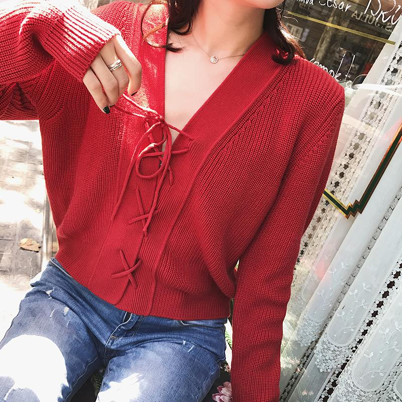 a nagy házban BIGKING v - nyakú pulcsit kötött cardigan van a női hosszú - rövid) lágy őszi kabát 韩版 vékony)