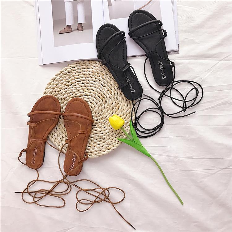 夏季度假风新款随意脚环绑带女式低跟罗马风格平底防滑凉鞋拖鞋女