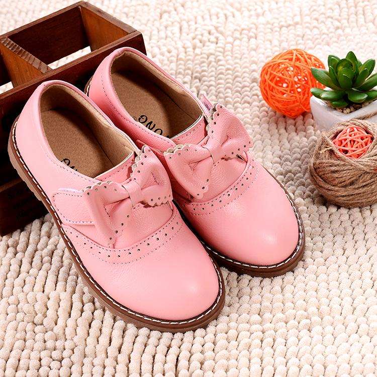 【天天特价】蝴蝶结真皮女童鞋儿童公主鞋单鞋软底学生中大童皮鞋