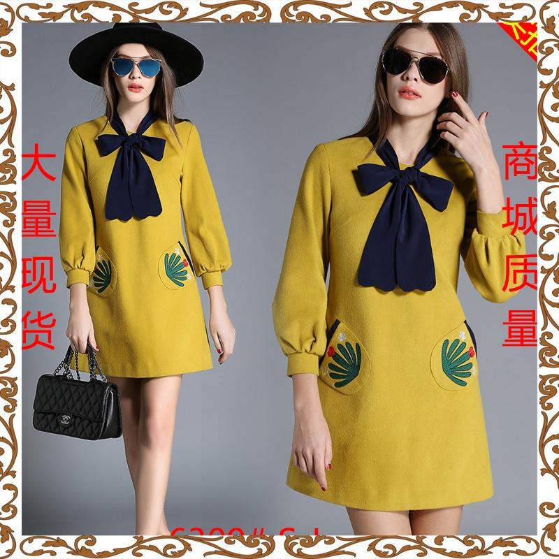 ez nini 冬装 BIGKING szabott új női divat otthon egy 连衣 sárga bő.
