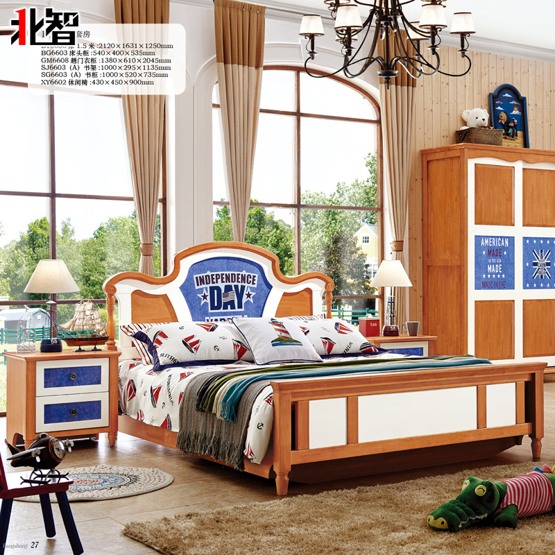 American country teenagers bedroom furniture 1.5 meters solid wood bed boy single bed double cartoon high box storage bed