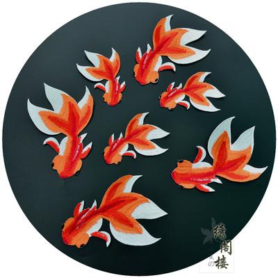 精致外单金鱼戏水刺绣布贴 经典民族风刺绣辅料 高端时尚补丁贴