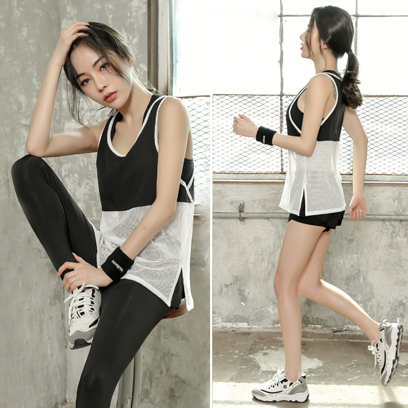 South Korean female yoga clothing Summer Shorts speed dry clothing three sets of thin breathable mesh gym suit