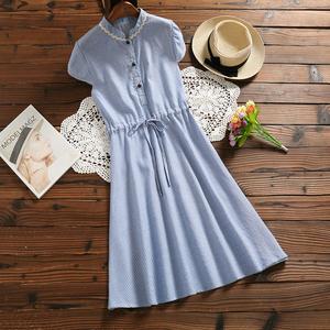 8270实拍条纹连衣裙棉