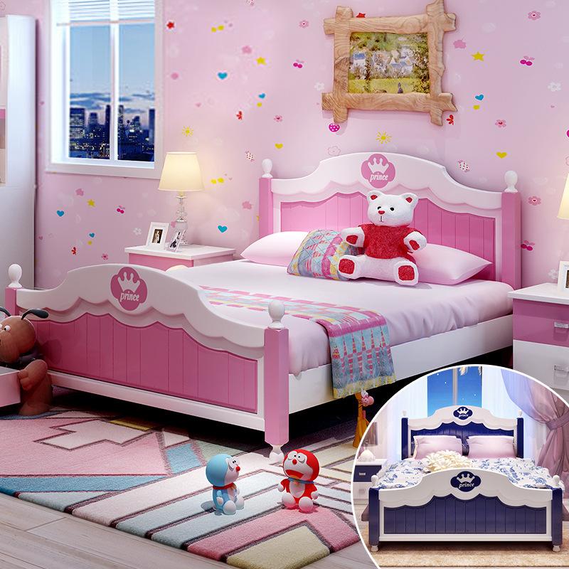 1.2 meters of solid wood children's bed, bed, 1.5 meters double bed, Mediterranean children's storage princess bed