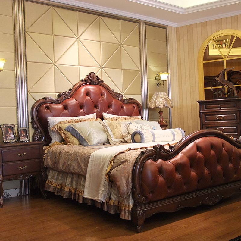 Liyuan beauty home European style classical leather bed wood bed double rural 1.8 meters bed custom leather bed