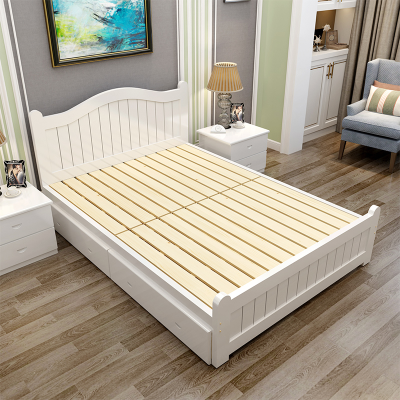Modern minimalist solid wood bed, 1.8 meters double simple oak bed, economical 1.5 high box storage single bed adult