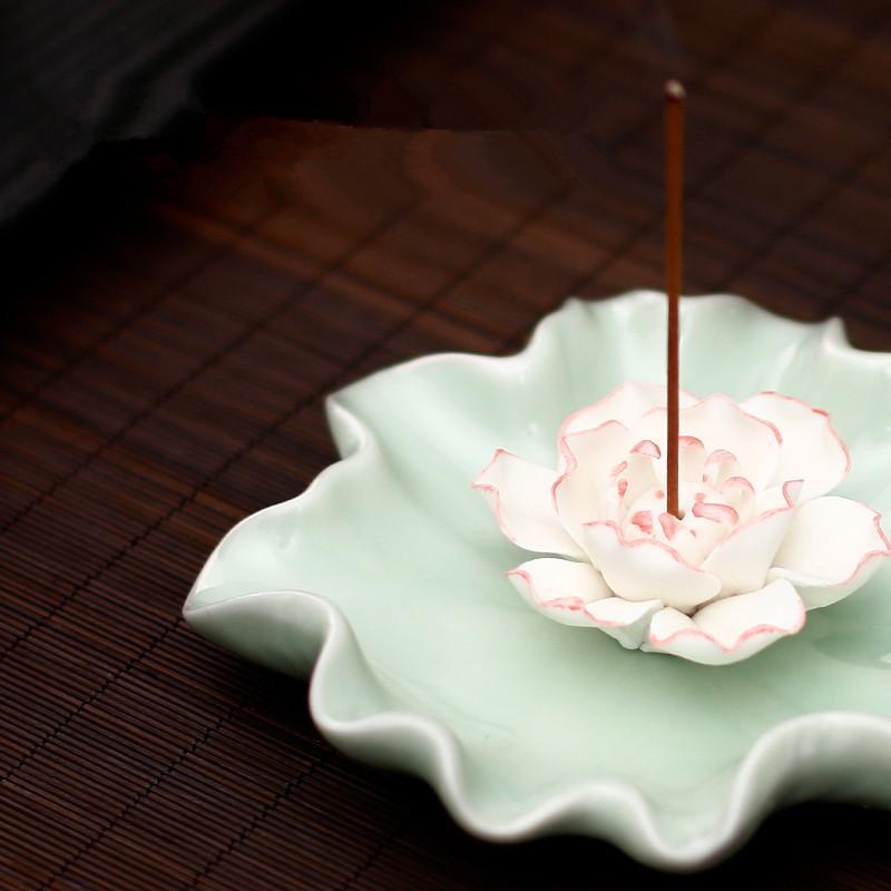 Ароматерапия печи керамические Lotus ладан включить кадило творческих ручной фимиам базы сандалового дерева Каору кадило ладан крытый Ароматерапия печь