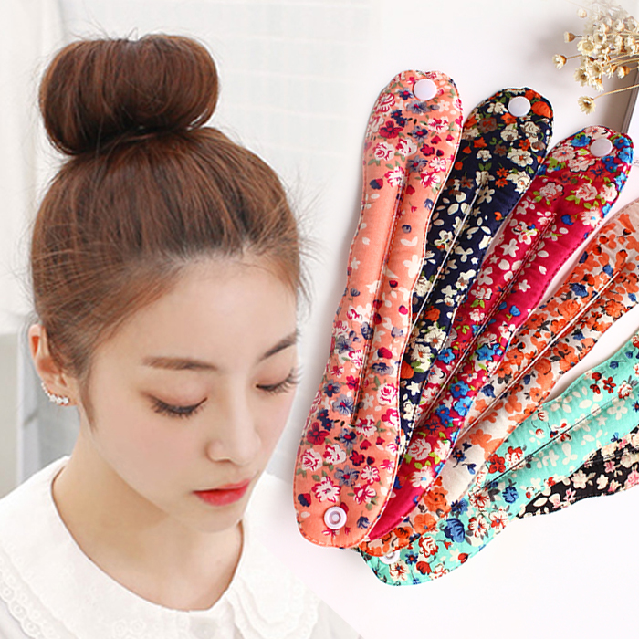 koreanske mode - stof plade anordning kødbolle hoved bud pandebånd ærme knap blomst svamp hår