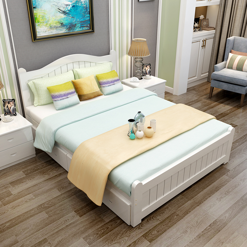 All modern wood simple economy 1.51.8 meter single bed, child bed, adult bed, double bed, pine bed