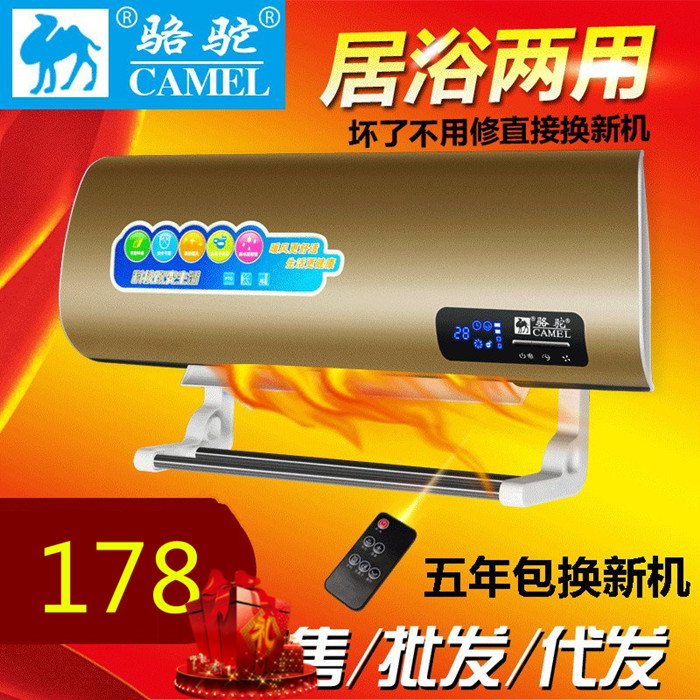 Remote control air heater, double wall hanging small air conditioner, household cold and warm waterproof electric heating, bathroom wall hanging type