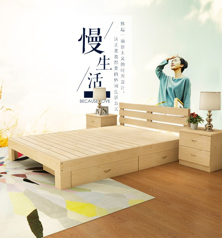 Economy child bed, solid wood bed, 1.5 meters double bed, adult 1.8 meters big bed, 1 meters 2 simple single bed special price