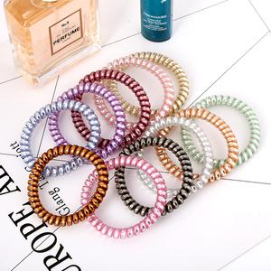 韩国电话线发圈胶圈金属时尚细款小号发绳发饰扎头发像皮筋发量少