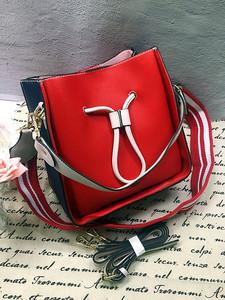 包包女新款荔枝纹女包子母拼接撞色抽绳水桶形包包手提单肩斜跨包