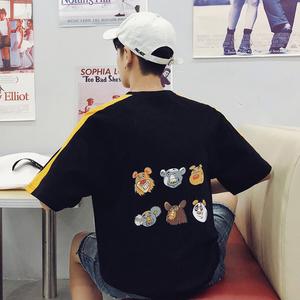 @右先生夏季新款男装韩版bf印花短袖ins宽松百搭学生青少年体恤潮
