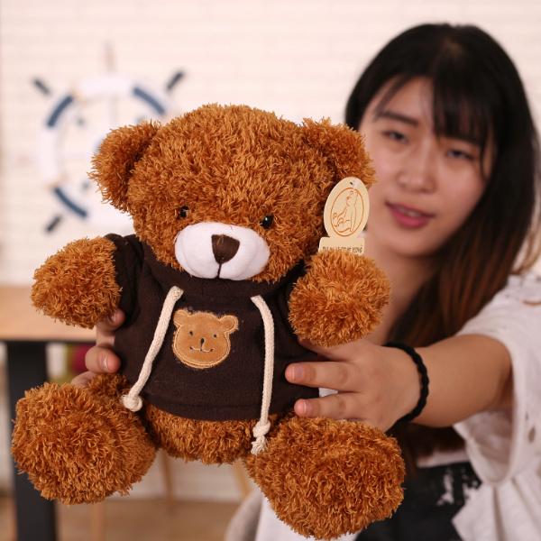 深毛-深棕色衛衣20厘米熊抱抱熊熊貓公仔小熊布娃娃毛絨玩具小號送女友生日兒童禮物