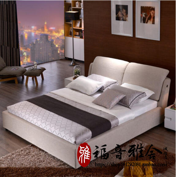 Washable fabric bed 1.8 meters double bed modern minimalist Mianma cloth bed Nordic size apartment layout wedding bed