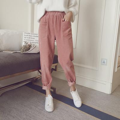 韩版新款秋季潮学生哈伦裤女宽松百搭时尚灯芯绒休闲长裤九分裤子