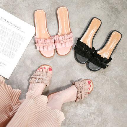 网红凉拖鞋女夏时尚外穿2018新款百搭韩版港风室外半拖平底女凉鞋