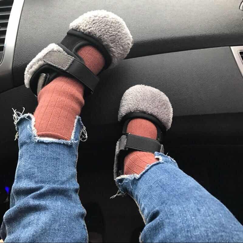 涵麻爱小铺 17冬新款男女童一脚蹬鞋子加绒豆豆鞋韩版棉鞋公主鞋