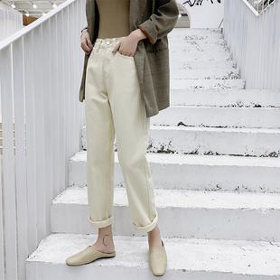 2019新款韩版显瘦复古百搭长裤高腰宽松杏白色泫雅学生直筒裤