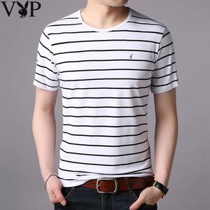 花花公子夏季男士短袖T恤 圆领体恤韩黑白条纹打底衫修身上衣男装
