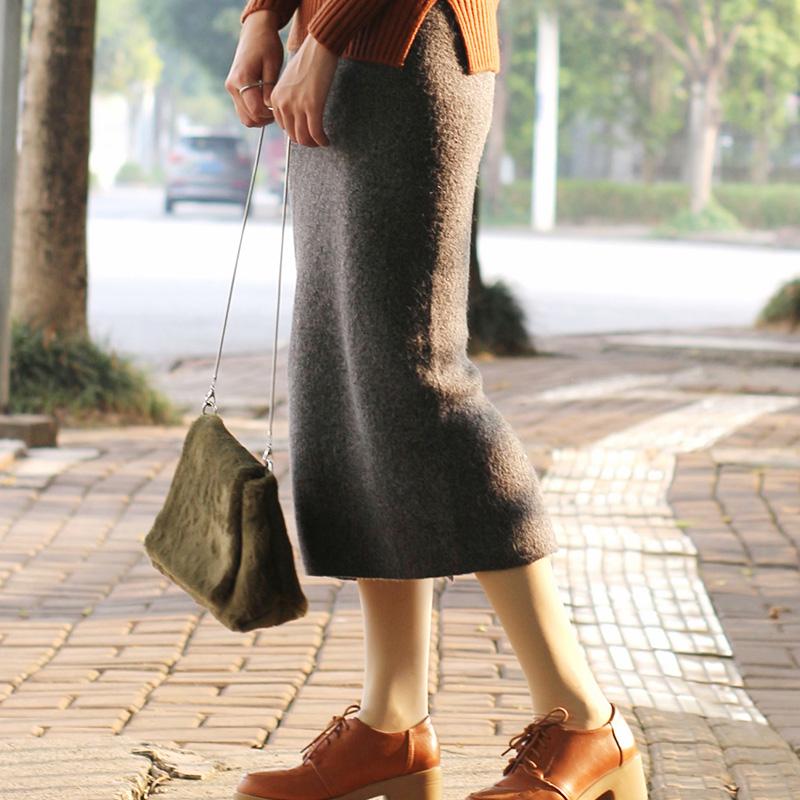 天天特价开叉一步裙秋冬兔毛线高腰厚显瘦中长款针织包臀半身裙女