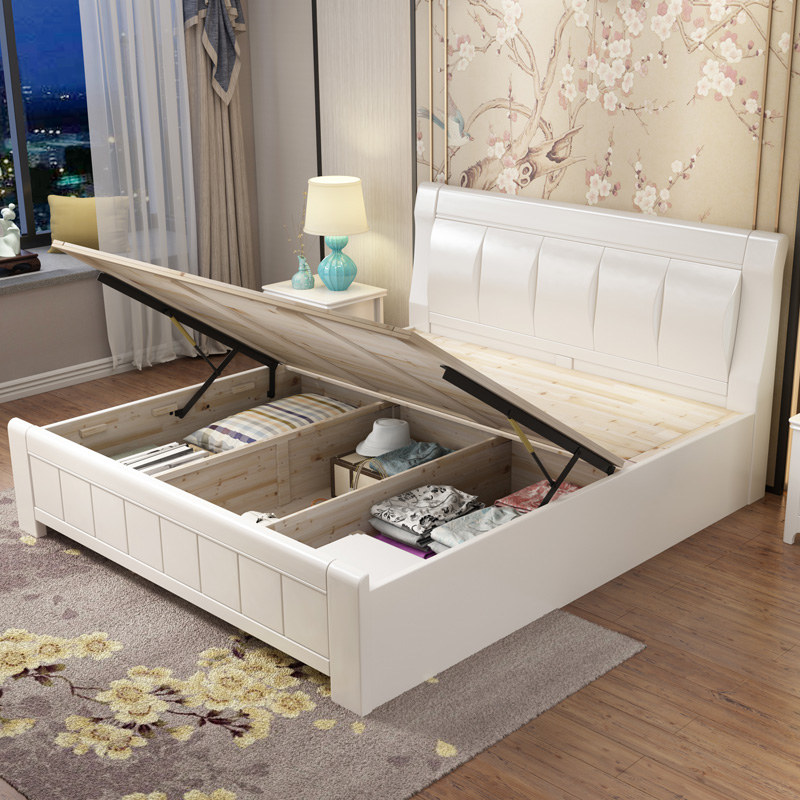 White solid wood bed, 1.5m1.8 meters, 2 meters, double bed, modern Chinese style big bed, simple storage, high box marriage bed