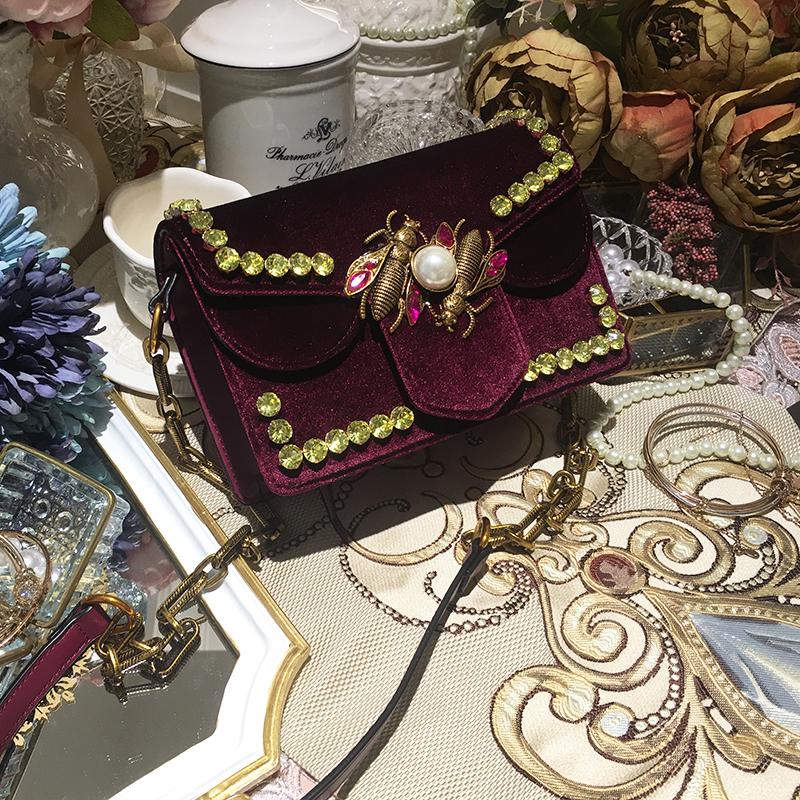 秋冬款包包女2017新款红小方包欧美丝绒水钻珍珠单肩链条包迷你