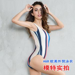 8801實拍#歐美外貿新款速賣通ebay連體比基尼bikini泳衣彩色條紋