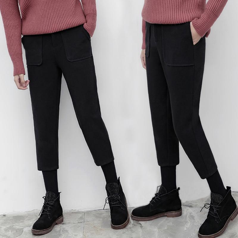 2017秋冬显瘦毛呢七分萝卜裤女小个子装直筒阔腿裤九分哈伦小脚裤