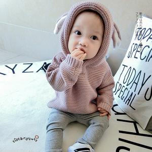 加绒春秋装韩版女宝宝毛衣男童套头幼儿针织衫婴儿外套0-1-2-3岁