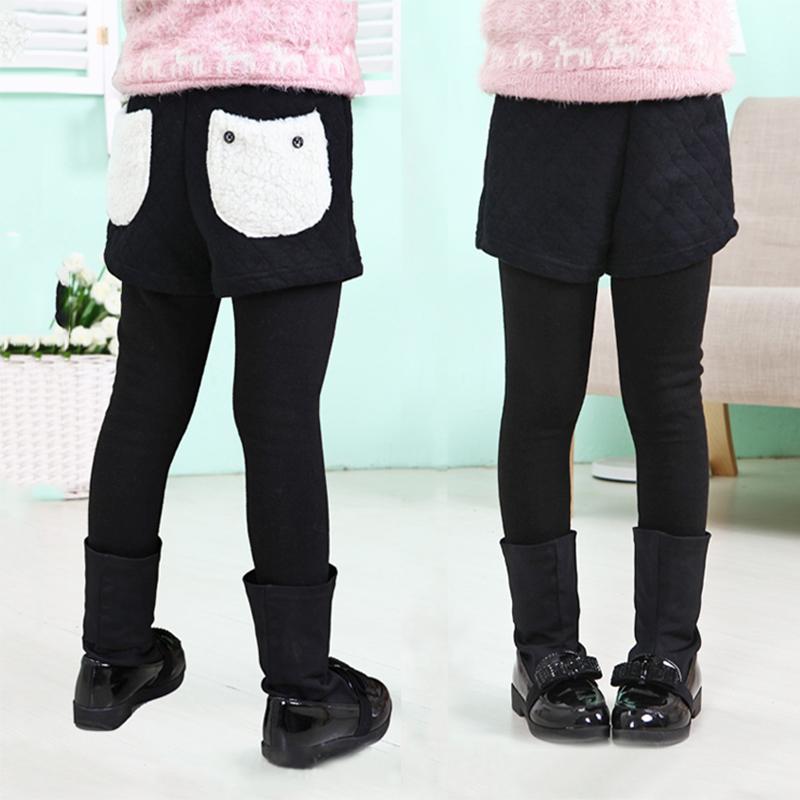 女童冬季打底裤外穿短裤加绒加厚假两件保暖儿童中大童韩版长裤子