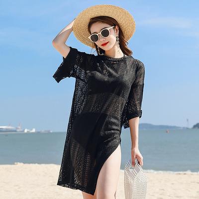 比基尼罩衫女夏季海边度假泳衣外套镂空蕾丝中长款外搭沙滩防晒衣